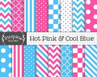 Papier numérique rose et bleu, rose vif, Chevrons, pois, rayures, téléchargement immédiat, utilisation commerciale, papier Scrapbooking, Blu