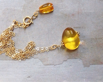 Gold Baltic Amber Necklace -  Amber Pendant - Golden Honey Yellow Necklace - Dainty Gold Necklace - Natural Amber Necklace