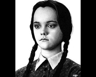 "Print 11x14"" - I Hate Everything - Wednesday Addams The Addams Family Christina Ricci Morticia Gomez Dark Art Horror Comedy Gothic Pop Art"