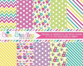 80% OFF SALE Tea Party Digital Paper Pack Girls Pink Purple Teal Blue Green & Yellow Digital Papers Stripes Flowers Chevron Instant Download