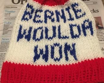 Bernie woulda won hat beanie. Bernie would  have won. Bernie Sanders . Feel the Bern. Still Sanders, my president protest march