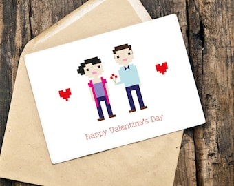 Custom Illustrated Valentine Card in Pixel Art Style (Digital File)