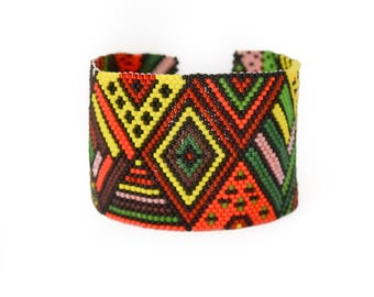 patchwork bracelet, multicolor bracelet, inspiration bracelet, bohemian bracelet, beaded bracelet, seed bead bracelet, cuff bracelet, women