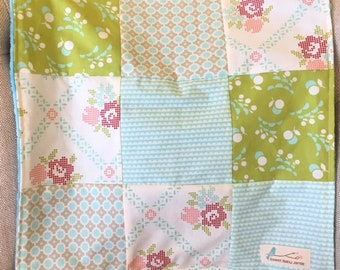 Baby Lovey Security Blanket Aqua Tiffany Blue Roses Green  Patchwork Minky So soft!  Nursery Stroller Shower gift  OOAK