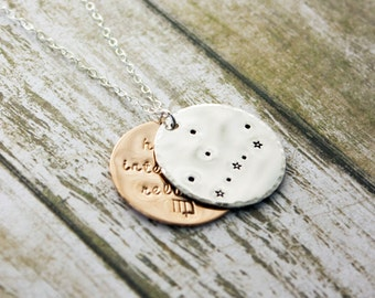 Virgo zodiac constellation necklace with traits. Personalized gift. Virgo astrology necklace. Virgo constellation. Virgo birthday gift. RTS