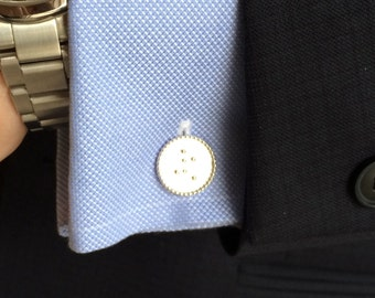 Personalized Stamped Braille Sterling Silver Cufflinks with Sterling Silver Beaded Rim