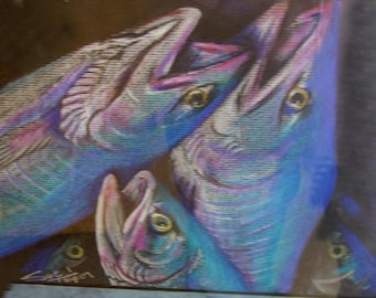 original art color pencil  drawing tri fish blues  wall decor  matted to 11x14 SALE