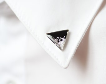 Black Silver Triangle collar brooch - Geometric collar pin - shirt accessoryFREE WORLDWIDE SHIPPING -