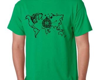 Men's Tee Shirt World Map Compass