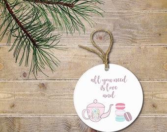 Tea Ornament, Gift for Tea Lover, Baker, Gift for Baker, Gift for Pastry Chef, Coffee Lover, Macaroons, Christmas Ornament, Birthday Gift