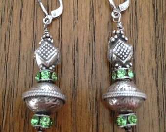 Sterling Silver and Peridot Colored Drop Earrings
