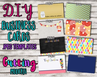 DIY BUSINESS CARDS for crafters vinyl creations and more - Jpeg Images front and back