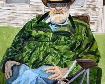 Piney, portrait, bearded man, Pine Barrens, New Jersey, 13x19 fine art Giclee print made from original watercolor painting, unmatted