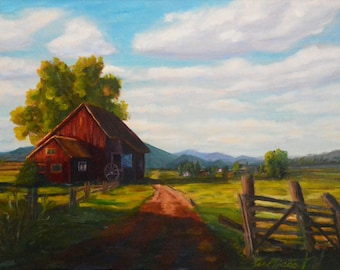 Old red barn, oil in canevas