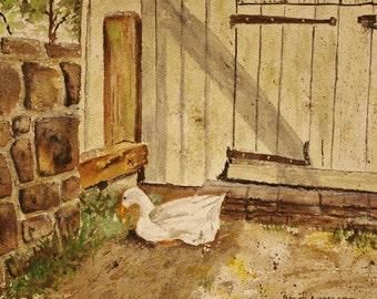 "watercolor painting of duck, Pennsbury Manor Farm, ""EATING LUNCH"",11.25"" x 8.25""h,painting of farm,original painting,"