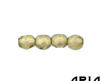 HALO LINEN: 4mm Faceted Round Firepolish Czech Glass Beads (50 beads per strand)