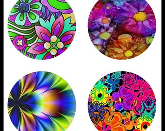 Bright Flowers - Digital Downloads - Digital Collage Sheets - Flower Prints - 30mm Buttons - Flowers - 30mm Round Prints - DDP382