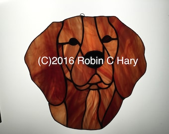 Redbone Coonhound Suncatcher in Stained Glass