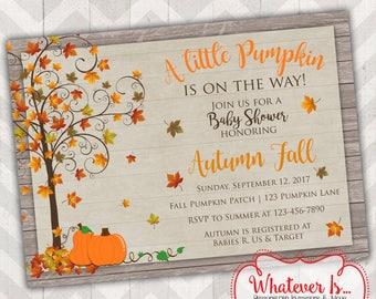 Fall Baby Shower Invitation; Little Pumpkin Baby Shower; Rustic Baby Shower