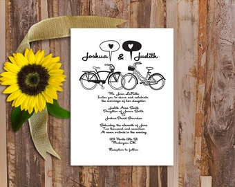 Black and White, Wedding Invitation, Simple, Bicycle, Love, Wedding, Invitation