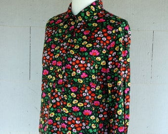 Vintage Shirt / 60's Black Floral Tunic / Psychedelic Hippie Blouse / Groovy Shirt