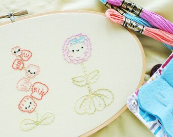 Quite Contrary - Nursery Rhyme Gardening Embroidery Pattern PDF