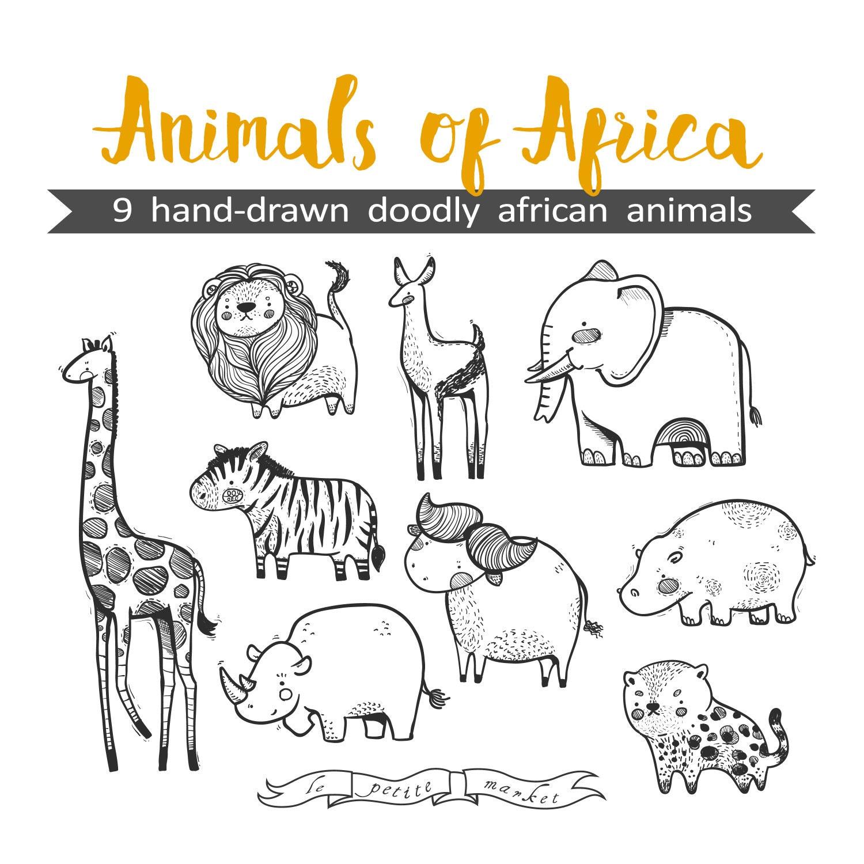 Mano dibuja lindo animales de África gráfico Ilustración hoja