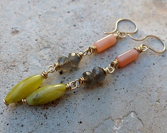 Long Gold/Brass & Gemstone Dangle Earrings. Olive Jade, Pink and Gray Moonstones . Rustic Southwest Boho Tribal Style Jewelry