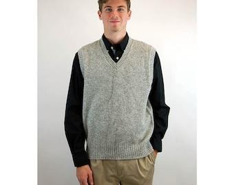 Mens wool vest sweater vest Shetland wool sleeveless sweater gray grey v neck The Moors Lord Jeff Size L/XL