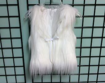 Long luxurious soft Snow White vest