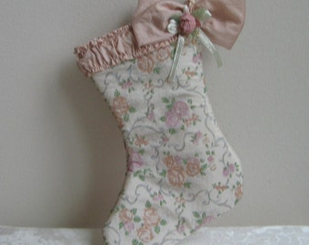 Vintage Christmas Stocking Blush Pink Pastels Roses Scrolls, Shimmer Fabric Decoration, Shabby Victorian Cottage