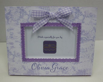 Toile and Gingham Baby Girl Curly Lavender and Purple Personalized 4x6 Frame