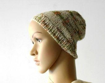 Knit beanie, alpaca wool knit hat, slouchy beanie camouflage oatmeal green  Inspirational womens mens gift under 40