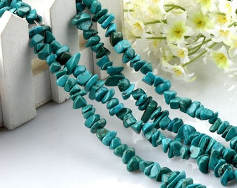 One Strand Turquoise Chip Stone, 5-8mm Howlite Chip Beads