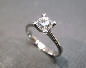Solitaire Diamond Engagement Ring in 14K White Gold, Unique Engagement Ring, Solitaire Ring, Solitaire Engagement Ring, Diamond Band, Rings