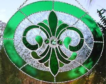 Stained Glass Suncatcher, Stained Glass Art, Glass Art, Decorative Solder Work, Glass Sun Catchers, Glass Suncatchers, Glass Panel, 9560-GR