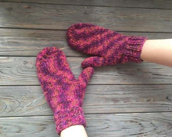 Funny knitted mittens for winter