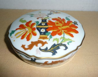 GORGEOUS Asian Style Limoges Trinket Box, Limoges Powder Box, Limoges Boudoir Box, Asian Style Porcelain Box