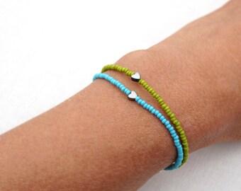fathers Day Gift Friendship Bracelet Sterling Tiny Bracelet Minimal Bracelet Stacking Bracelet Petite Heart Thin Bracelet Blue Green Custom