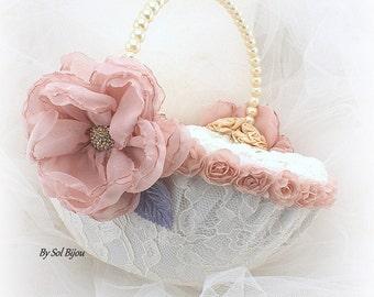 Flower Girl Basket, Vintage Wedding, Ivory, Blush, Gold, Lilac, Tan, Beige, Champagne, Pearls, Crystals, Lace, Elegant, Round, Pearl Handle