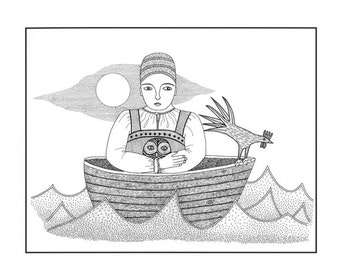 Ink Illustration woman in boat,  Drawing boat woman and owl, Bird art, Black and white art print, Sea, ocean illustration, Folk Art, Rooster