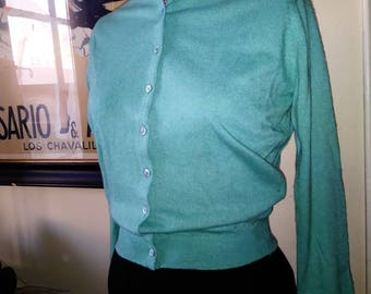1950s robin's egg blue cashmere cardigan.