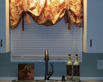 Window Treatment, tie up valance, marsala and gold valance with stripe ties, burgundy valance, burgandy wine gold valance