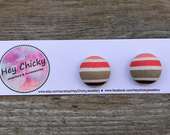 Multi-Colour Stripes Fabric Button Stud Earrings - 15mm or 19mm