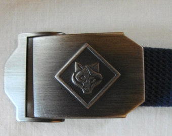 Vintage CUB SCOUT BELT Wolf Cub Face Within A Triangle Brushed Metal Buckle Boys Navy Cotton Belt 29 Inch Boys Cub Scout Belt Wolf Face
