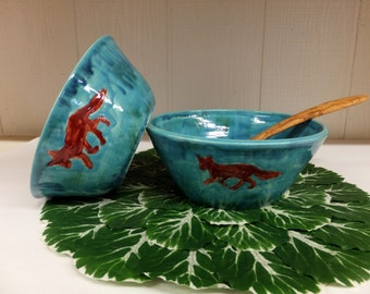 Blue Bowl Set with Red Fox, Handmade Pottery Nesting Bowls