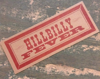 HILLBILLY FEVER letterpress red poster Red Country Music redneck kitchen decor gifts diner art print