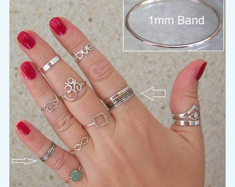 Stacking Band 1 mm ring Midi Above Knuckle Ring Skinny ring 925 Sterling Silver rings Any size