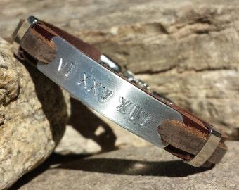 FREE SHIPPING-Bracelet For Men, Groom Gift, Men's Leather Bracelet, Engraved Bracelet, Men's Personalized Bracelet, Cuff Bracelet For Men