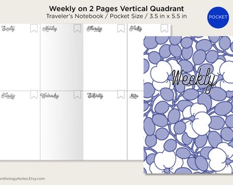 Pocket  Weekly View Vertical Quadrant Traveler's Notebook Printable Insert Field Notes Wo2P